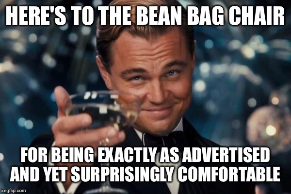 Leonardo Dicaprio Cheers Meme | HERE'S TO THE BEAN BAG CHAIR FOR BEING EXACTLY AS ADVERTISED AND YET SURPRISINGLY COMFORTABLE | image tagged in memes,leonardo dicaprio cheers | made w/ Imgflip meme maker