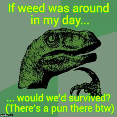 Philosoraptor Meme | If weed was around in my day... ... would we'd survived? (There's a pun there btw) | image tagged in memes,philosoraptor | made w/ Imgflip meme maker