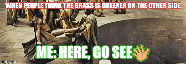 300 kick | WHEN PEOPLE THINK THE GRASS IS GREENER ON THE OTHER SIDE ME: HERE, GO SEE | image tagged in 300 kick | made w/ Imgflip meme maker