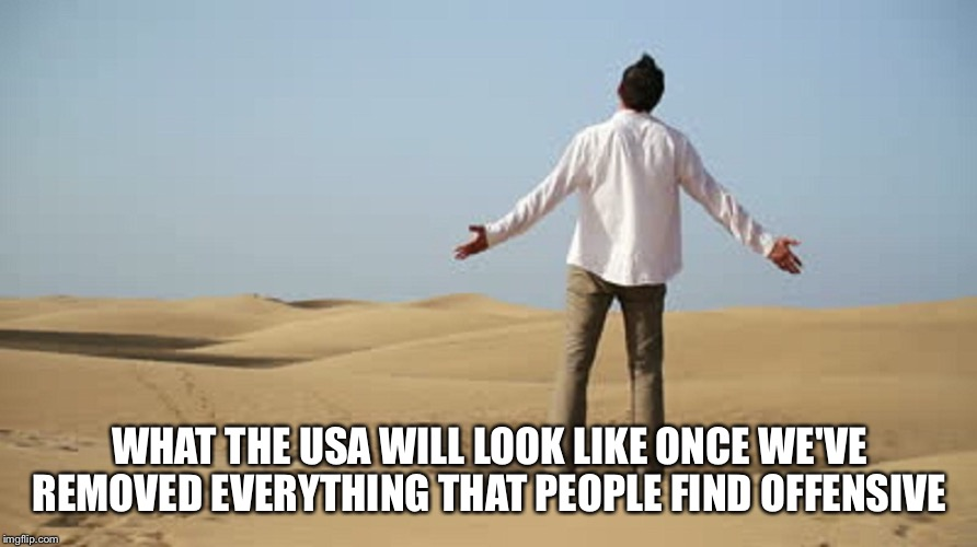 WHAT THE USA WILL LOOK LIKE ONCE WE'VE REMOVED EVERYTHING THAT PEOPLE FIND OFFENSIVE | image tagged in butthurt,society | made w/ Imgflip meme maker
