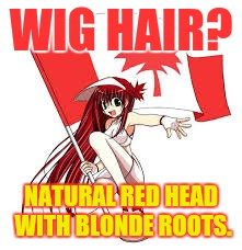WIG HAIR? NATURAL RED HEAD WITH BLONDE ROOTS. | made w/ Imgflip meme maker