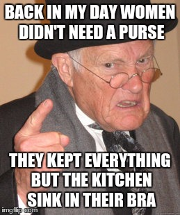 Back In My Day Meme | BACK IN MY DAY WOMEN DIDN'T NEED A PURSE THEY KEPT EVERYTHING BUT THE KITCHEN SINK IN THEIR BRA | image tagged in memes,back in my day | made w/ Imgflip meme maker