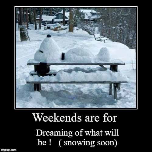 Weekends are for | Dreaming of what will be ! ( snowing soon) | image tagged in funny,demotivationals | made w/ Imgflip demotivational maker