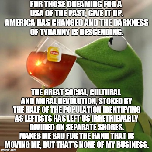 Fallen Humanity Never Fails To Snatch Defeat From The Jaws Of Victory | FOR THOSE DREAMING FOR A USA OF THE PAST, GIVE IT UP. AMERICA HAS CHANGED AND THE DARKNESS OF TYRANNY IS DESCENDING. THE GREAT SOCIAL, CULTU | image tagged in memes,but thats none of my business,kermit the frog | made w/ Imgflip meme maker