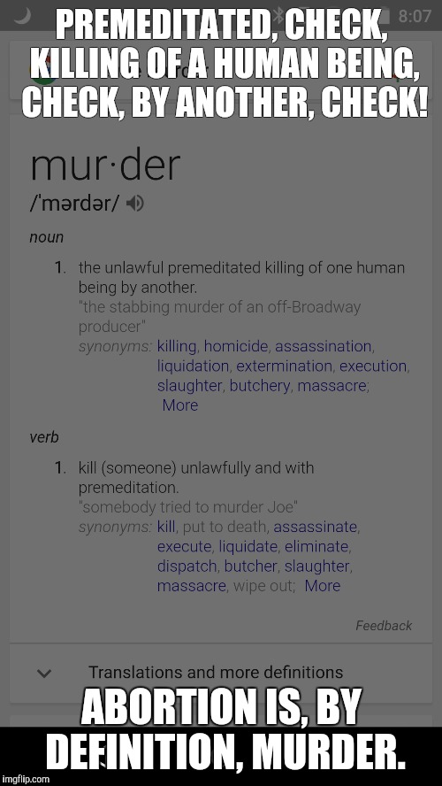 PREMEDITATED, CHECK, KILLING OF A HUMAN BEING, CHECK, BY ANOTHER, CHECK! ABORTION IS, BY DEFINITION, MURDER. | made w/ Imgflip meme maker