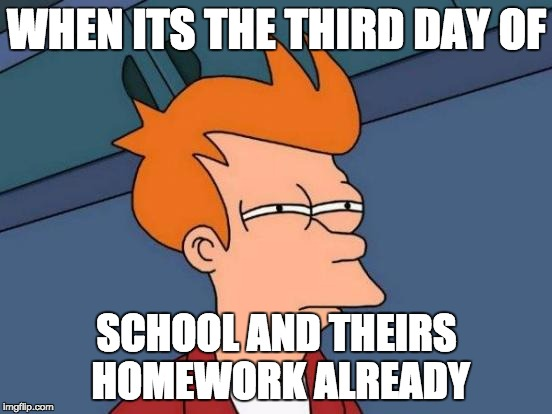 Futurama Fry Meme | WHEN ITS THE THIRD DAY OF SCHOOL AND THEIRS HOMEWORK ALREADY | image tagged in memes,futurama fry | made w/ Imgflip meme maker