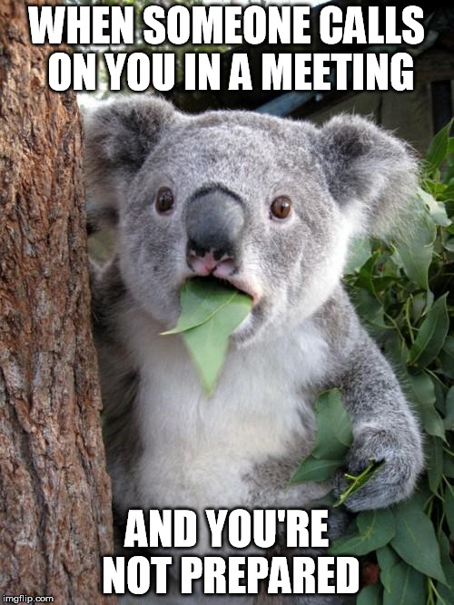 Not prepared in a meeting like... | WHEN SOMEONE CALLS ON YOU IN A MEETING AND YOU'RE NOT PREPARED | image tagged in memes,surprised koala,meeting | made w/ Imgflip meme maker