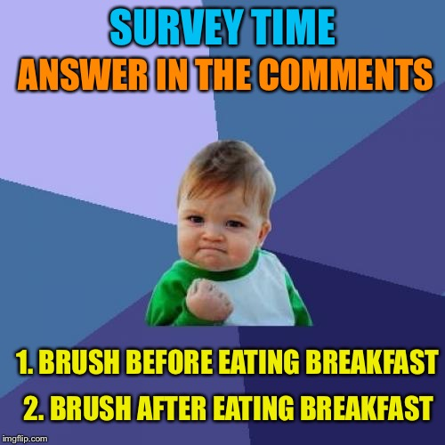 Success Kid Meme | SURVEY TIME 1. BRUSH BEFORE EATING BREAKFAST 2. BRUSH AFTER EATING BREAKFAST ANSWER IN THE COMMENTS | image tagged in memes,success kid | made w/ Imgflip meme maker