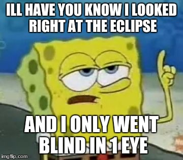 Ill Have You Know Spongebob Meme | ILL HAVE YOU KNOW I LOOKED RIGHT AT THE ECLIPSE AND I ONLY WENT BLIND IN 1 EYE | image tagged in memes,ill have you know spongebob | made w/ Imgflip meme maker