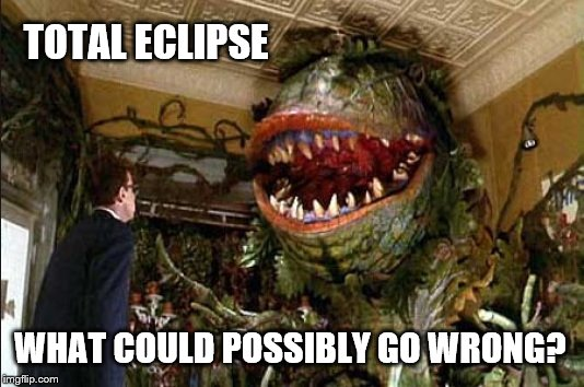 Audrey II | TOTAL ECLIPSE WHAT COULD POSSIBLY GO WRONG? | image tagged in total eclipse,eclipse,audrey ii | made w/ Imgflip meme maker