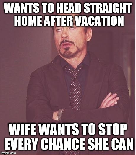 Face You Make Robert Downey Jr Meme | WANTS TO HEAD STRAIGHT HOME AFTER VACATION WIFE WANTS TO STOP EVERY CHANCE SHE CAN | image tagged in memes,face you make robert downey jr | made w/ Imgflip meme maker