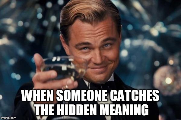 Leonardo Dicaprio Cheers Meme | WHEN SOMEONE CATCHES THE HIDDEN MEANING | image tagged in memes,leonardo dicaprio cheers | made w/ Imgflip meme maker