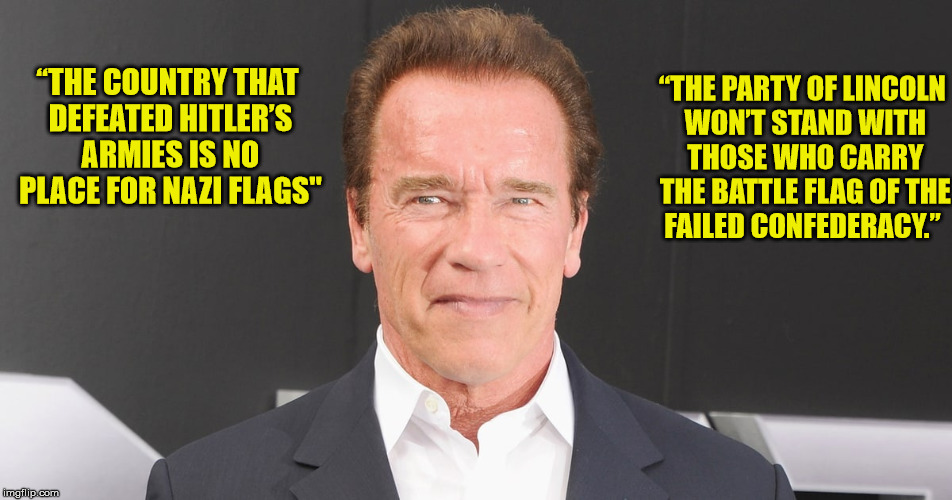 "I'd say Arnold knows a bit about the Nazis. His dad was a party member  | ""THE COUNTRY THAT DEFEATED HITLER'S ARMIES IS NO PLACE FOR NAZI FLAGS"" ""THE PARTY OF LINCOLN WON'T STAND WITH THOSE WHO CARRY THE BATTLE FLA 