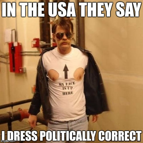 IN THE USA THEY SAY I DRESS POLITICALLY CORRECT | made w/ Imgflip meme maker