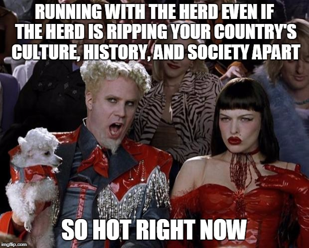 Eventually You'll Have To Choose A Side | RUNNING WITH THE HERD EVEN IF THE HERD IS RIPPING YOUR COUNTRY'S CULTURE, HISTORY, AND SOCIETY APART SO HOT RIGHT NOW | image tagged in memes,mugatu so hot right now | made w/ Imgflip meme maker