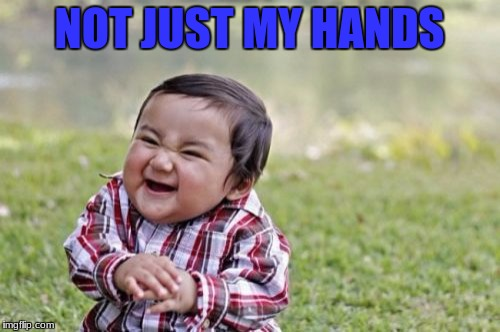 Evil Toddler Meme | NOT JUST MY HANDS | image tagged in memes,evil toddler | made w/ Imgflip meme maker