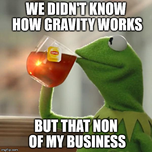 haven't find fun title, sry | WE DIDN'T KNOW HOW GRAVITY WORKS BUT THAT NON OF MY BUSINESS | image tagged in memes,but thats none of my business,kermit the frog,physics,gravity | made w/ Imgflip meme maker