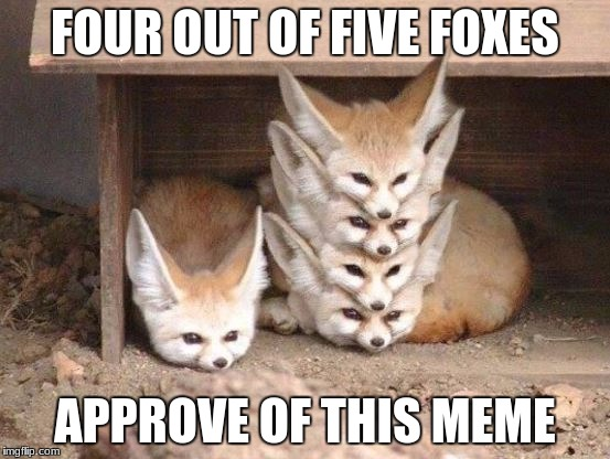 FOUR OUT OF FIVE FOXES APPROVE OF THIS MEME | made w/ Imgflip meme maker