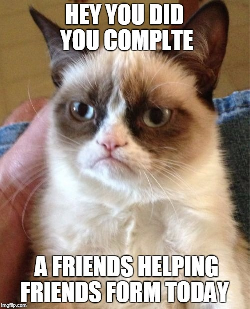 Grumpy Cat Meme | HEY YOU DID YOU COMPLTE A FRIENDS HELPING FRIENDS FORM TODAY | image tagged in memes,grumpy cat | made w/ Imgflip meme maker