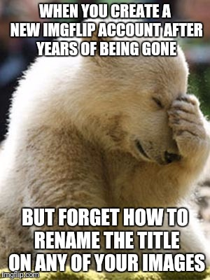 Facepalm Bear |  WHEN YOU CREATE A NEW IMGFLIP ACCOUNT AFTER YEARS OF BEING GONE; BUT FORGET HOW TO RENAME THE TITLE ON ANY OF YOUR IMAGES | image tagged in memes,facepalm bear | made w/ Imgflip meme maker