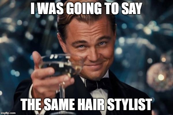 Leonardo Dicaprio Cheers Meme | I WAS GOING TO SAY THE SAME HAIR STYLIST | image tagged in memes,leonardo dicaprio cheers | made w/ Imgflip meme maker