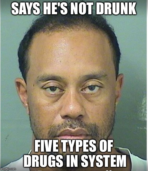 Tiger Woods Mug Shot  | SAYS HE'S NOT DRUNK FIVE TYPES OF DRUGS IN SYSTEM | image tagged in tiger woods mug shot | made w/ Imgflip meme maker