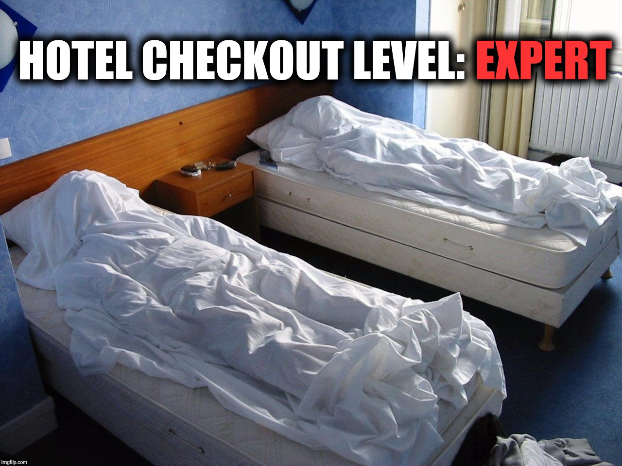 Next time you check out of a hotel, use the sheets, pillows, spare linens like this.  Don't forget to leave a tip. | HOTEL CHECKOUT LEVEL: EXPERT | image tagged in memes,hotel,checkout,level expert | made w/ Imgflip meme maker