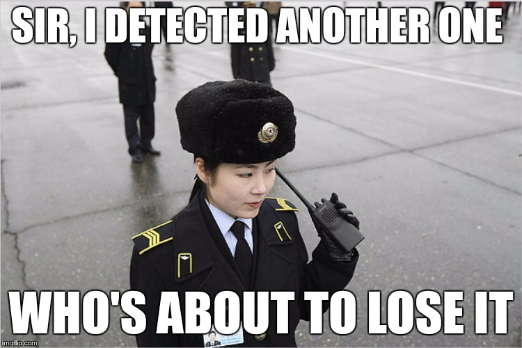 north korea | SIR, I DETECTED ANOTHER ONE WHO'S ABOUT TO LOSE IT | image tagged in north korea | made w/ Imgflip meme maker