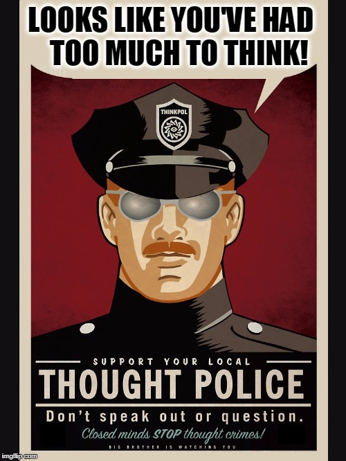 Be Careful What You Think! | LOOKS LIKE YOU'VE HAD   TOO MUCH TO THINK! | image tagged in vince vance,george orwell,1984,thought police,antifa,censorship | made w/ Imgflip meme maker