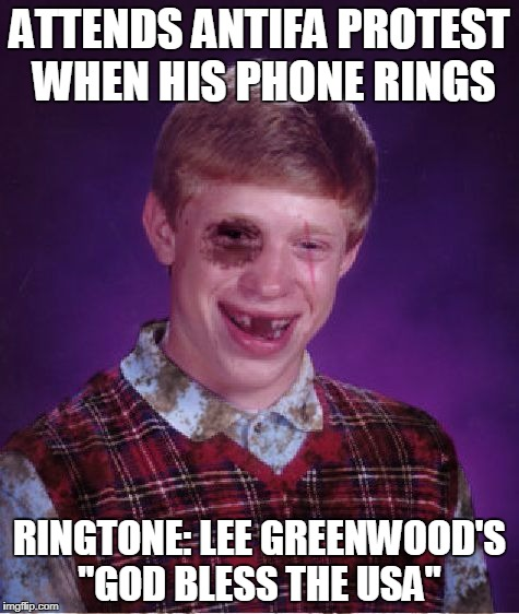 "Oh, I'm Proud To Be A Socialist... | ATTENDS ANTIFA PROTEST WHEN HIS PHONE RINGS RINGTONE: LEE GREENWOOD'S ""GOD BLESS THE USA"" 