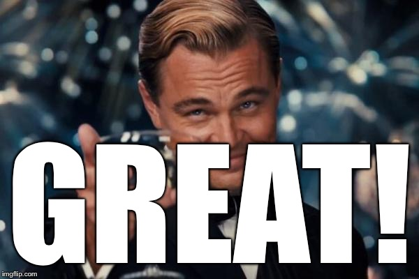 Leonardo Dicaprio Cheers Meme | GREAT! | image tagged in memes,leonardo dicaprio cheers | made w/ Imgflip meme maker