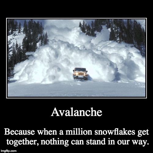 Snowflakes onward! | Avalanche | Because when a million snowflakes get together, nothing can stand in our way. | image tagged in snowflakes,special snowflake,avalanche,impeach trump,impeach,impeachment | made w/ Imgflip demotivational maker