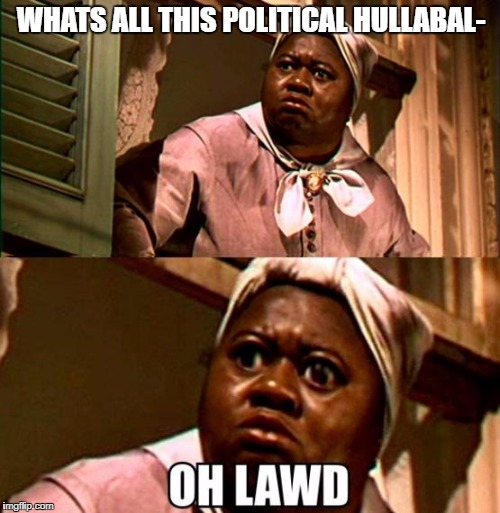 Oh lawd | WHATS ALL THIS POLITICAL HULLABAL- | image tagged in oh lawd | made w/ Imgflip meme maker