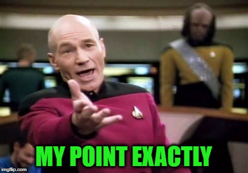 Picard Wtf Meme | MY POINT EXACTLY | image tagged in memes,picard wtf | made w/ Imgflip meme maker