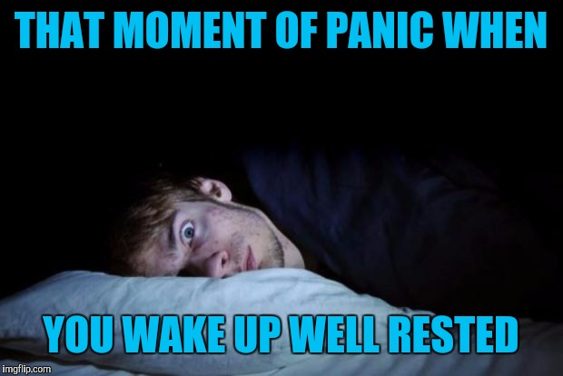 Overslept | THAT MOMENT OF PANIC WHEN YOU WAKE UP WELL RESTED | image tagged in awake,memes | made w/ Imgflip meme maker