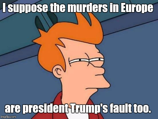 Futurama Fry Meme | I suppose the murders in Europe are president Trump's fault too. | image tagged in memes,futurama fry | made w/ Imgflip meme maker