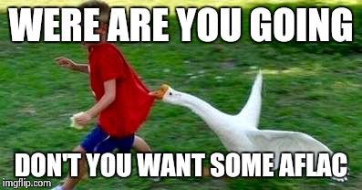 Aflac | WERE ARE YOU GOING DON'T YOU WANT SOME AFLAC | image tagged in aflac | made w/ Imgflip meme maker