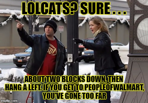 LOLCATS? SURE . . . ABOUT TWO BLOCKS DOWN, THEN HANG A LEFT. IF YOU GET TO PEOPLEOFWALMART, YOU'VE GONE TOO FAR | made w/ Imgflip meme maker
