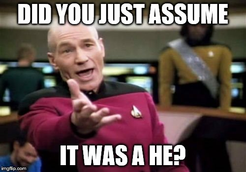 Picard Wtf Meme | DID YOU JUST ASSUME IT WAS A HE? | image tagged in memes,picard wtf | made w/ Imgflip meme maker