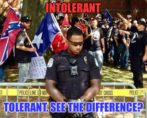 It's Pretty Easy To Figure Out, Really... | INTOLERANT TOLERANT. SEE THE DIFFERENCE? | image tagged in cop charlottesville,memes,sad but true,racism | made w/ Imgflip meme maker