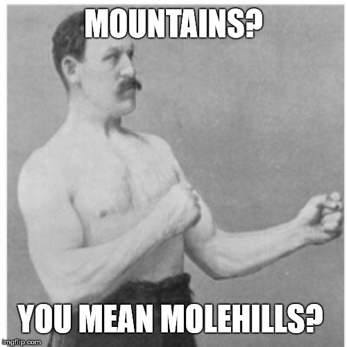 Overly Manly Man | MOUNTAINS? YOU MEAN MOLEHILLS? | image tagged in memes,overly manly man | made w/ Imgflip meme maker