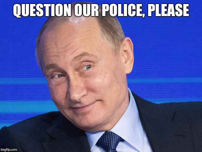 Memes, Putin | QUESTION OUR POLICE, PLEASE | image tagged in memes,putin | made w/ Imgflip meme maker