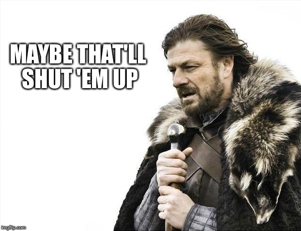 Brace Yourselves X is Coming Meme | MAYBE THAT'LL SHUT 'EM UP | image tagged in memes,brace yourselves x is coming | made w/ Imgflip meme maker