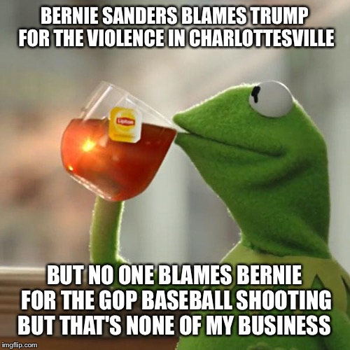 But Thats None Of My Business Meme | BERNIE SANDERS BLAMES TRUMP FOR THE VIOLENCE IN CHARLOTTESVILLE BUT NO ONE BLAMES BERNIE FOR THE GOP BASEBALL SHOOTING BUT THAT'S NONE OF MY | image tagged in memes,but thats none of my business,kermit the frog | made w/ Imgflip meme maker