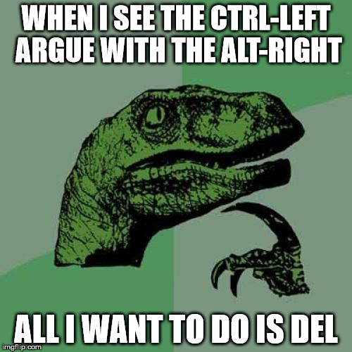 I want to reset politics. | WHEN I SEE THE CTRL-LEFT ARGUE WITH THE ALT-RIGHT ALL I WANT TO DO IS DEL | image tagged in memes,philosoraptor | made w/ Imgflip meme maker