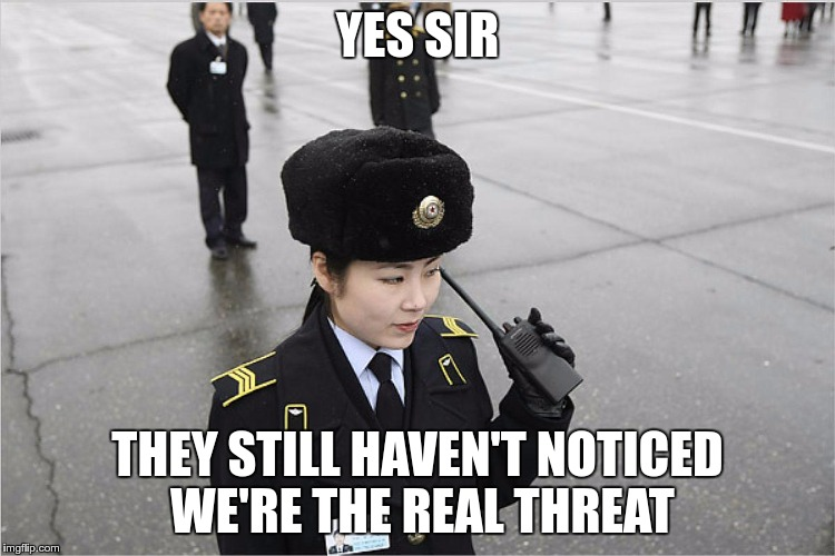 north korea | YES SIR THEY STILL HAVEN'T NOTICED WE'RE THE REAL THREAT | image tagged in north korea | made w/ Imgflip meme maker