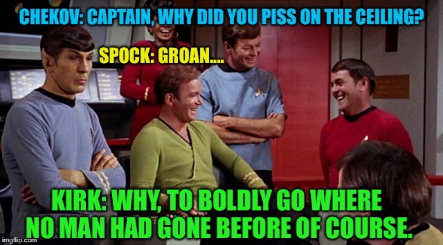 #ThingsNeverSaidOnStarTrek | CHEKOV: CAPTAIN, WHY DID YOU PISS ON THE CEILING? KIRK: WHY, TO BOLDLY GO WHERE NO MAN HAD GONE BEFORE OF COURSE. SPOCK: GROAN.... | image tagged in star trek,piss,ceiling,captain kirk,mr spock,joke | made w/ Imgflip meme maker
