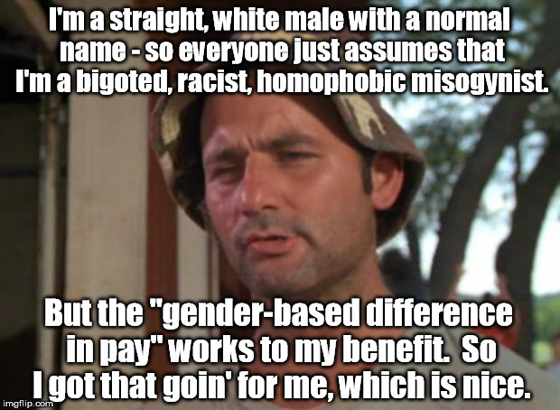 "Most guys work hourly or union jobs and are paid the same as women. | I'm a straight, white male with a normal name - so everyone just assumes that I'm a bigoted, racist, homophobic misogynist. But the ""gender- 