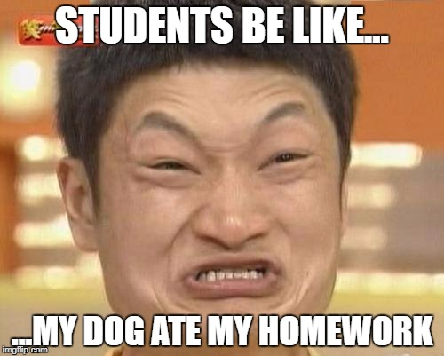 Impossibru Guy Original Meme | STUDENTS BE LIKE... ...MY DOG ATE MY HOMEWORK | image tagged in memes,impossibru guy original | made w/ Imgflip meme maker