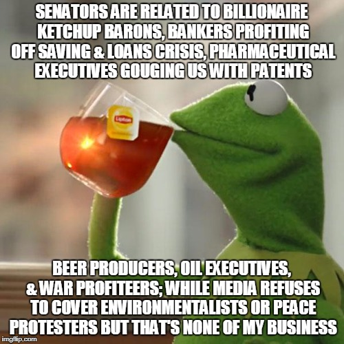 But Thats None Of My Business Meme | SENATORS ARE RELATED TO BILLIONAIRE KETCHUP BARONS, BANKERS PROFITING OFF SAVING & LOANS CRISIS, PHARMACEUTICAL EXECUTIVES GOUGING US WITH P | image tagged in memes,but thats none of my business,kermit the frog | made w/ Imgflip meme maker